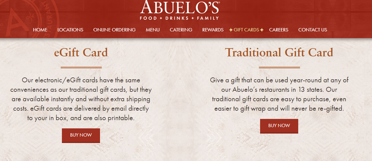 Abuelos Gift Cards Buy