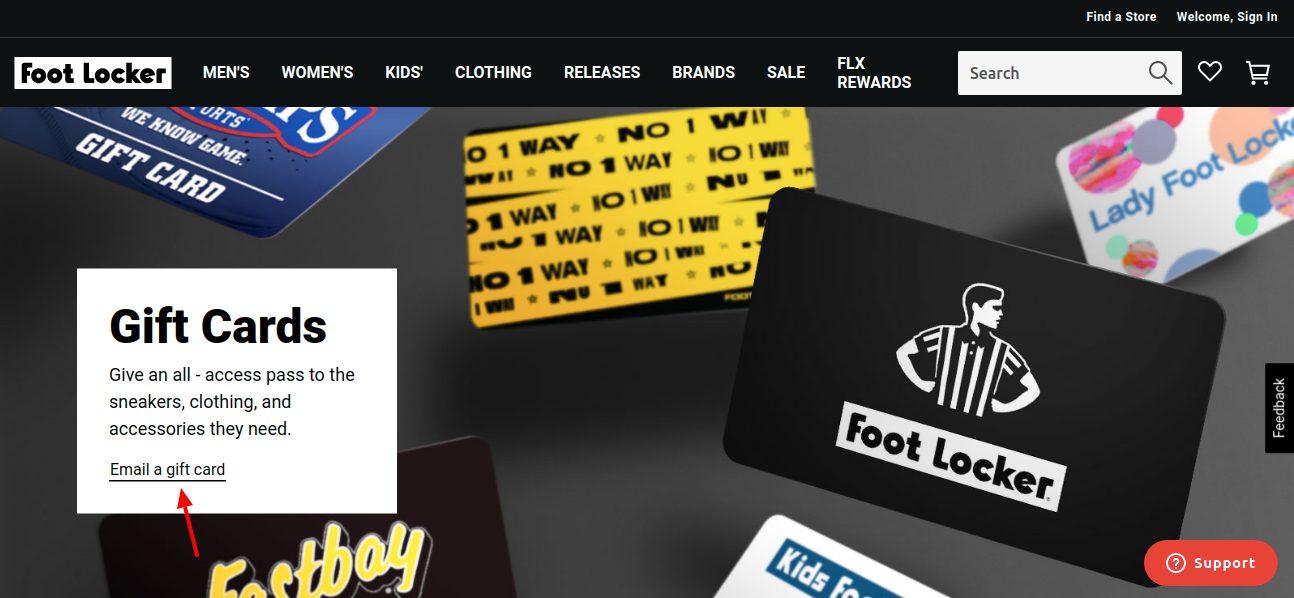 Foot Locker Gift Card Email