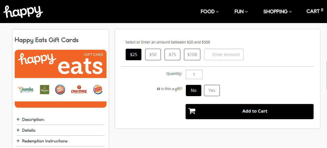 Happy Eats Gift Card Add Cart